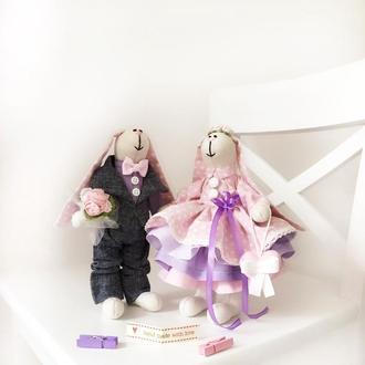 Пара заек тильда семья оригинальный подарок кукла сувенир Свадьба день рождение