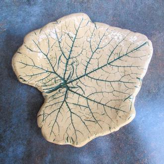 Тарілка Лист середня зелене тонування