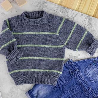 Вязаный джемпер с узкими полосками / детский свитер / кофта унисекс / реглан