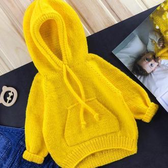 Жовте дитяче худі з кишенями і капюшоном / кофта кенгуру / толстовка унісекс