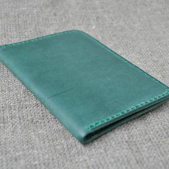 Обложка для паспорта из натуральной кожи зеленого цвета P01-350