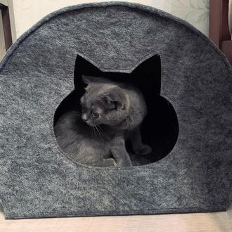 """Будиночок для кота з повсті """"Намет"""" сірий"""