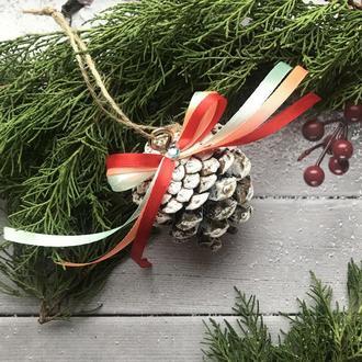 Шишки на ёлку, новогодние эко игрушки на ёлку, новогодний декор, набор игрушек на ёлку, шишки