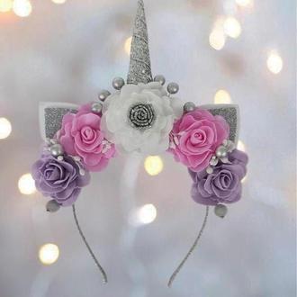 Новогодний ободок обруч единорога рог единорожки в светлых тонах резинки лол
