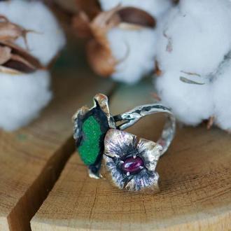 Кольцо уваровит, альмандин- кольцо с натуральными камнями - кольцо с альмандином