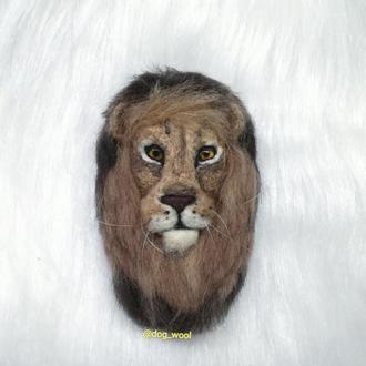 3D войлочная брошь Лев валяная брошка Левеня подарок на любой праздник