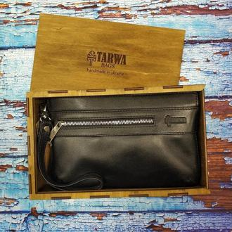 Мусжкой кожаный клатч, барсетка в подарочной упаковке TARWA 8188 в черной коже наппа