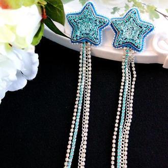Длинные стразовые серьги с пайетками для подружек невесты и выпускниц