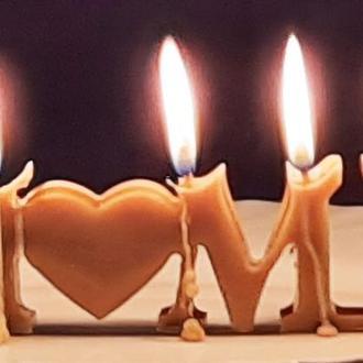 """Оригінальна ЕКО свічка """"HOME"""" з бджолиного воску для декору в наборі 4 шт"""