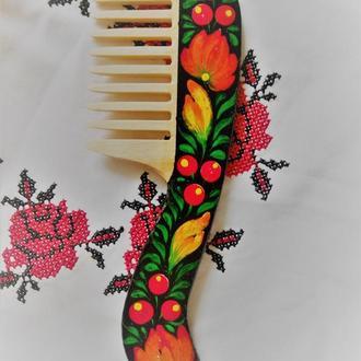 Деревянная расческа ручная петриковская роспись Ягодки цветочки