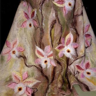 Валяный Палантин-шарф нежный орхидеи