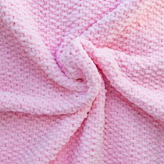 Вязаный плюшевый плед для новорождённого, розовый цвет