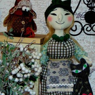 Текстильная кукла оберег БАБА ЯГА , интерьерная игрушка Баба Яга, стильная Баба Яга