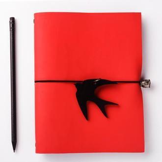 Красный кожаный блокнот с Ласточкой и черной бумагой