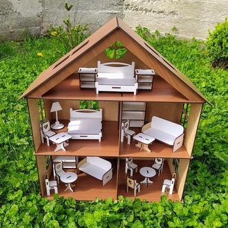 Ігровий ляльковий будинок. Игровой кукольный домик с набором аксесуаров.