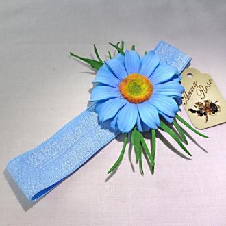 """Повязка на голову для девочек с цветами  """"Ромашка Голубая"""""""