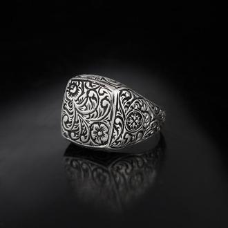 Гравированная мужская печатка из серебра