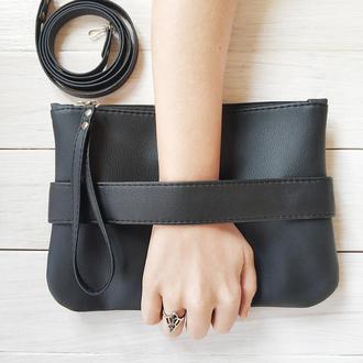 """Черный клатч - сумка через плечо """"CarryMe"""". Черная сумочка из экокожи."""