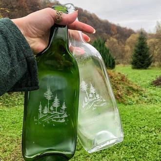 Тарелка из бутылки с гравировкой Сосновый лес