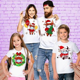 """ФП005753Футболки Фэмили Лук Family Look для всей семьи """"Быки в масках: Новый Год"""" Push IT"""