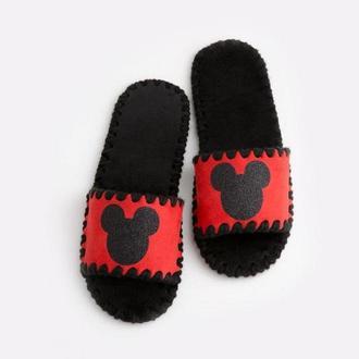 Женские домашние тапочки Микки, красного цвета, открытой формы