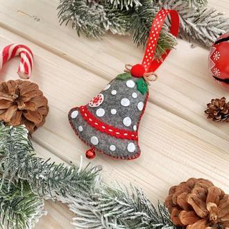 Колокольчик новогодний, елочное украшение ручной работы!