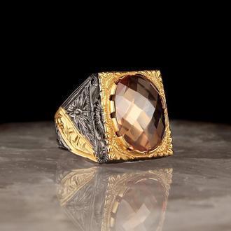 Практичный перстень из серебра 925 пробы с позолотой Камень цитрин