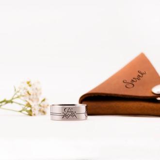 Стальное кольцо с гравировкой гор на заказ