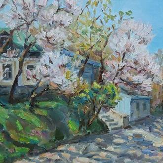 """Картина  олійними фарбами """"Весняний пейзаж"""""""