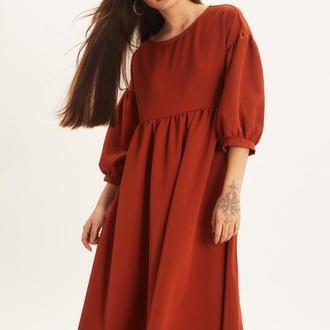 Кирпичное платье трапеция