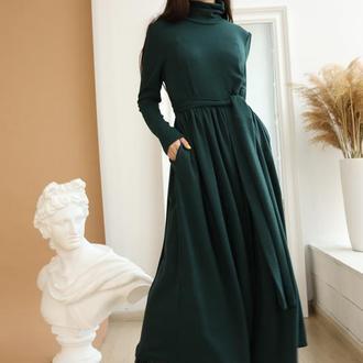 Изумрудное платье теплое