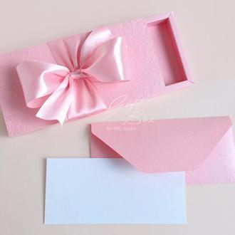 """Gift Box """"Loreleya"""" Цвет 4 (розовый) - открытка в коробочке"""