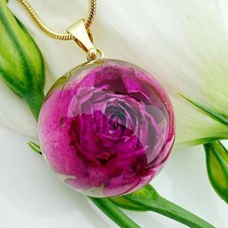 Подвеска с розой. Украшения из цветов. Малиновый кулон розочка (модель № 2633) Glassy Flowers