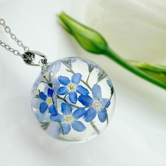 Кулон с голубыми незабудками. Подвеска с цветами. Синие незабудки (модель № 2635) Glassy Flowers