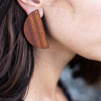Женские деревянные серьги