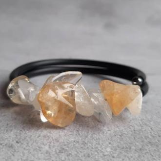 Красивый женский браслет с натуральным цитрином. Стильный браслет. Подарок.