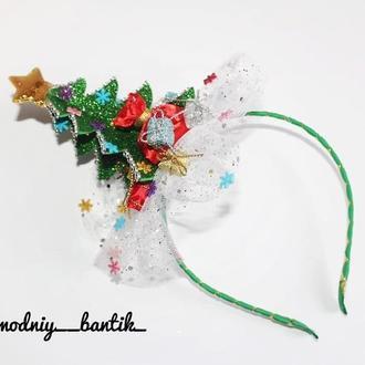 Обруч ободок елочка елка новогодний на новый год