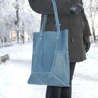 Голубая кожаная сумка Шоппер с11 (10 цветов)
