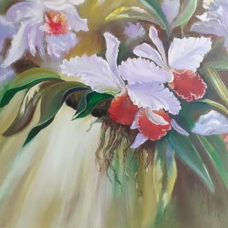 картина маслом с цветами Орхидеи