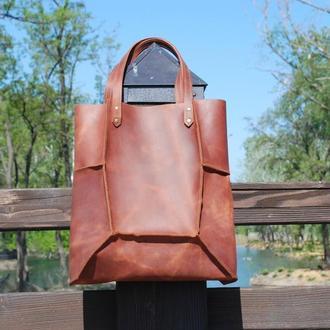 Коньячная кожаная сумка Шоппер с11 (10 цветов)