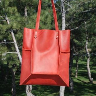 Красная кожаная сумка Шоппер с11 (10 цветов)