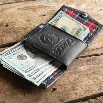 Мини кошелек из натуральной кожи. Бумажник размером с кредитку