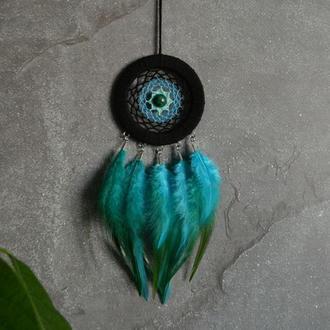 ловец снов с натуральным камнем - хризоколла, декор и оберег, оригинальный подарок близким и друзьям