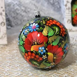 Новогодний шар на ёлку, Петриковская роспись, Маки