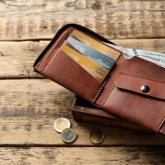 Коричневый бумажник из кожи на молнии с монетницей
