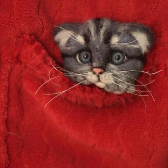 Брошь из шерсти котик серый