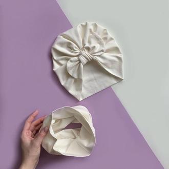 Комплект: шапка-тюрбан с солохой и снуд