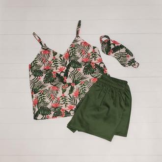 """Яркая женская пижама с майкой, шортами и маской для сна """"Мечтаю о море"""""""