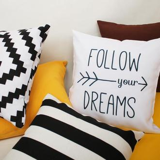 Декоративная подушка - геометрия, желтая подушка Киев , декоративна подушка бигль, черная подушка