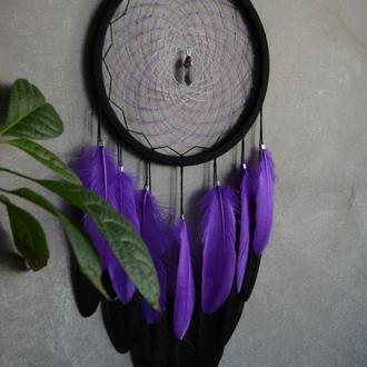 Ловец снов фиолетово-черный с аметистовым кулоном